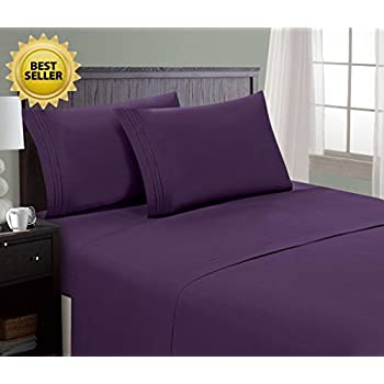Amazoncom Queen Size Bed Sheets Set Purple Dark Eggplant