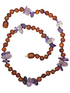 AmberSky Baby//Toddler//Children 12.5 Baltic Amber Natural Necklace Made with Polished Honey Tiger Eye and Moonstone Size 12.5 Inches Polished Honey//Tiger Eye//Moonstone 32 cm