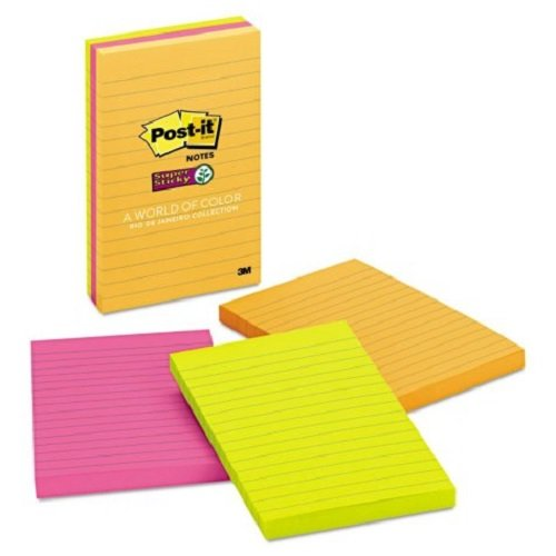 Mmm6603ssuc   Post It Super Sticky Lined Jewel Pop Coll Notes