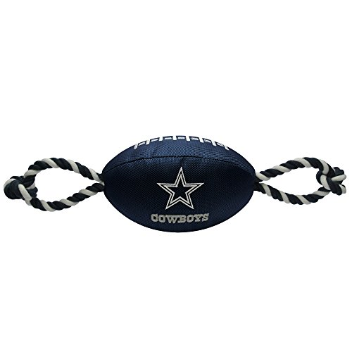 Pets First NFL Dallas Cowboys Football Dog Toy, Tough Nylon Quality Materials with Strong Pull Ropes & Inner Squeaker in NFL Team Color