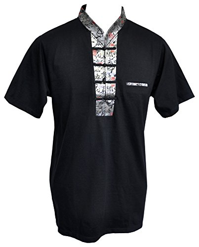 Amazing Grace Men's Chinese Collar Traditional Top Cotton Tee Shirt (Medium, Silver Calligraphy Black (Traditional Men Shirt)