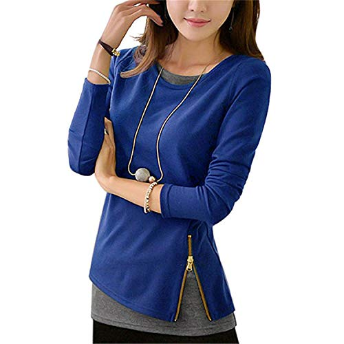 - Doris Batchelor Nice Women Zipper Fake Two Pieces Ladies Tunic Tops 5XL Blue M