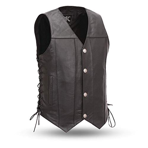 First Mfg Co First Manufacturing Men's Buffalo Nickel Vest with Dual Side Internal Concealed Gun Pockets/Adjustable Side Laces (Black, X-Large) - FMM612BSF-XL (Pocket Internal Patch)