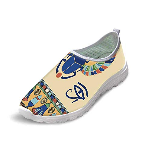 TecBillion Egyptian Comfortable Running Shoes,Ancient Antique Historical Culture Icon of Scarab Eye with Ornaments Print for Men Boys,US 8.5