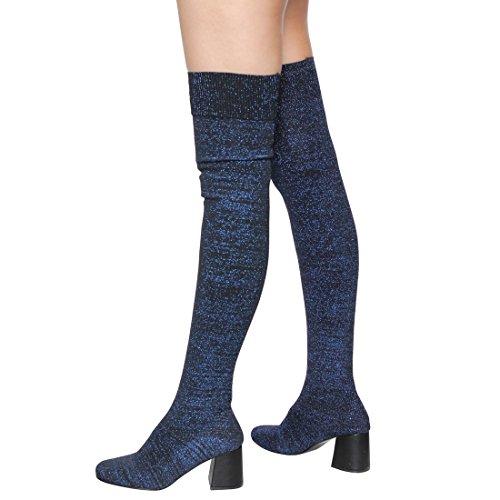 Beston Ei94 Womens Stretchy Sok Breien Pull On Block Hak Dijhoogte Laarzen Blauw Glitter