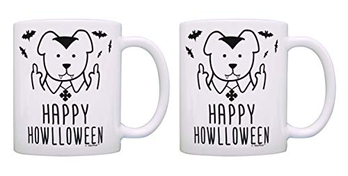 Halloween Mug Set Happy Howlloween Middle Finger Dog Vampire 2 Pack Gift Coffee Mugs Tea Cups White