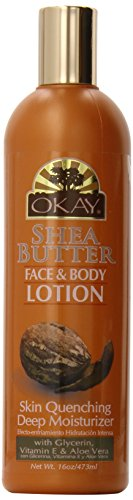 OKAY | Shea Butter Face and Body Lotion | For All Skin Types | Helps Restore Elasticity | With Glycerin, Vitamin E & Aloe Vera | Free of Paraben, Silicone | 16 oz