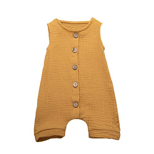 Newborn Baby Boys Girls Romper Jumpsuit Solid Sveless Bodysuit Infant Unisex Summer Clothes Outfits 3M-24M Yellow