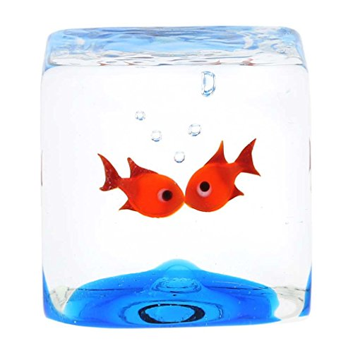 - GlassOfVenice Murano Glass Aquarium Cube With Goldfish