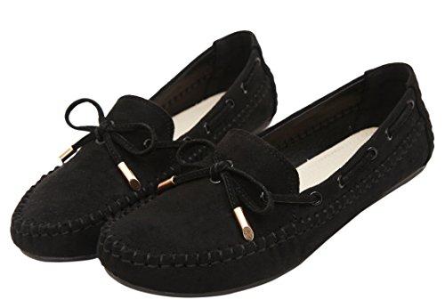 On Slip Noir Dqq Bowknot Plates Femme Noir Bateau Chaussures qEqtpPR7