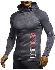 LEIF NELSON Gym Herren Fitness Langarmshirt Kapuzenshirt Slim Fit   Männer Bodybuilder Trainingsshirt Hoodie T-Shirt   Jungen Sportshirt - Laufshirt Bekleidung für Bodybuilding Training   LN8287