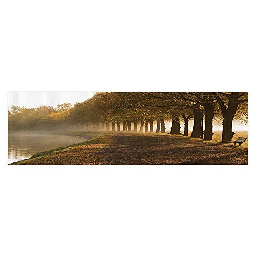 Auraise Heybee Fish Tank Background Walkway The Canal in Morning Mist Foggy Blurry Relaxing Spot in City Paper Fish Tank Backdrop Static Cling Wallpaper Sticker 35.4