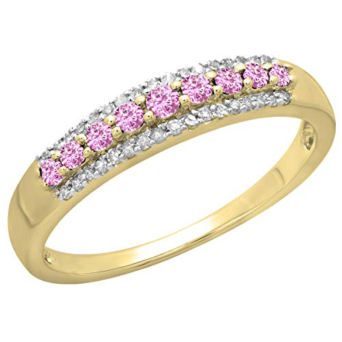 Dazzlingrock Collection 10K Round Pink Sapphire & White Diamond Ladies Wedding Band Stackable Ring, Yellow Gold, Size 7