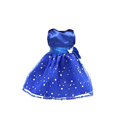 Tinksky Fashion Sequins Sleeveless Party Dress for 18 Inch American Girl Dolls (Blue)