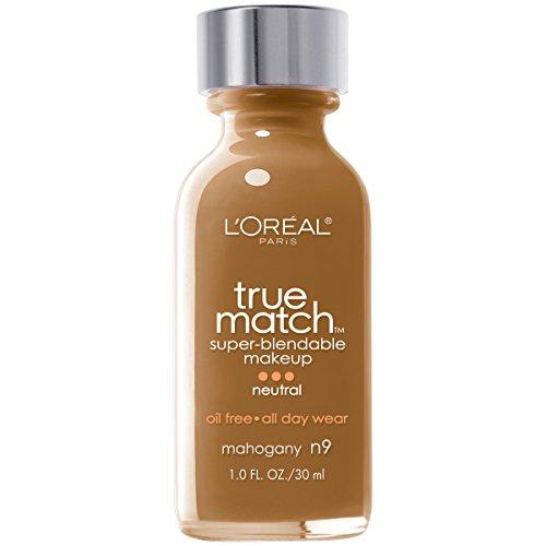 (L'Oreal Paris Makeup True Match Super-Blendable Liquid Foundation, Mahogany N9, 1 fl.)