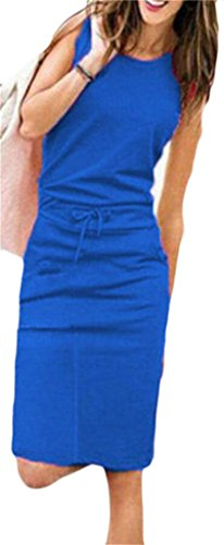 Solid Slim Drawstring Women's Pockets Midi Sleeveless Fit Royal Blue With Domple Dress w4qgBTtx