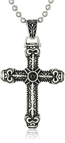 Men's Stainless Steel Black Agate Cross Pendant Necklace, (Stainless Steel Agate)