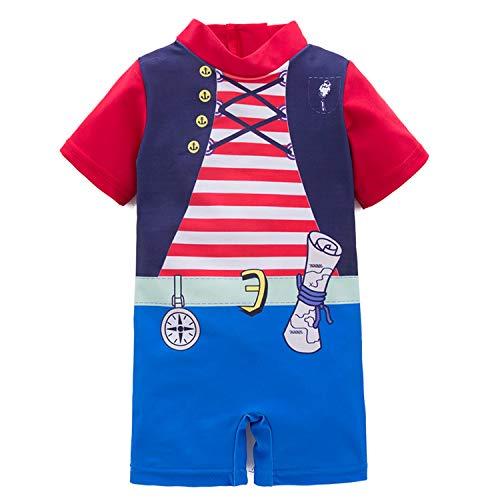 stylesilove Kid Boys Chic Pirate Printed One-Piece Rash Guard Swimsuit Pool Swimwear Beach Bathing Suit(3T)]()
