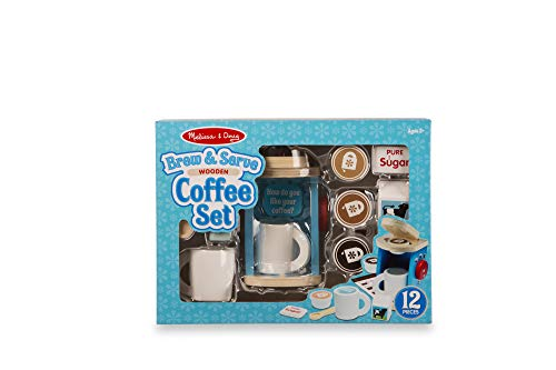 """Melissa & Doug Brew & Serve Wooden Coffee Maker Set, Play Kitchen Accessories, Encourages Imaginative Play, 12 Pieces, 10"""" H x 13"""" W x 4"""" L from Melissa & Doug"""