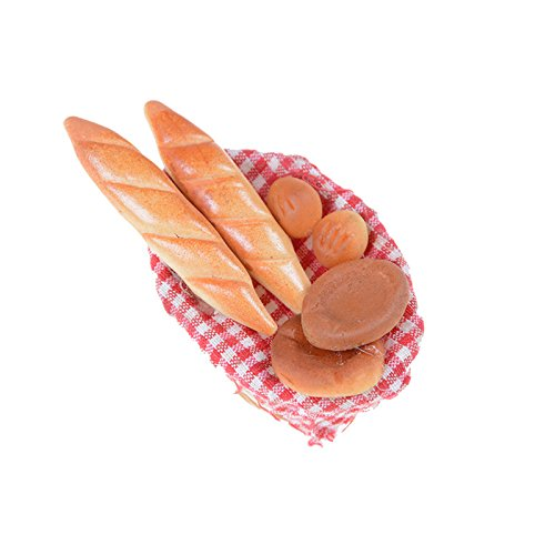 Dengguoli 6 PCS 1:12 Scale Dollhouse Bread Include Bamboo Basket Miniature Food Accessories Decor