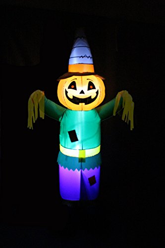 6 Foot Tall Happy Thanksgiving Halloween Inflatable Pumpkin Scarecrow LED Lights Decor Outdoor Indoor Holiday Decorations, Blow up Lighted Yard Decor, Giant Lawn Inflatables Home Family Outside by BZB Goods (Image #3)