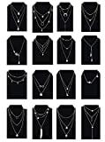 Ofeiyaa 6/12/16pcs Chain Gold Bead Necklace Coin Moon Star Pearl Pendant Chain Choker Multilayer Necklace Leather Cord Set for Women Girls Adjustable Gold Tone (XL02-G16)