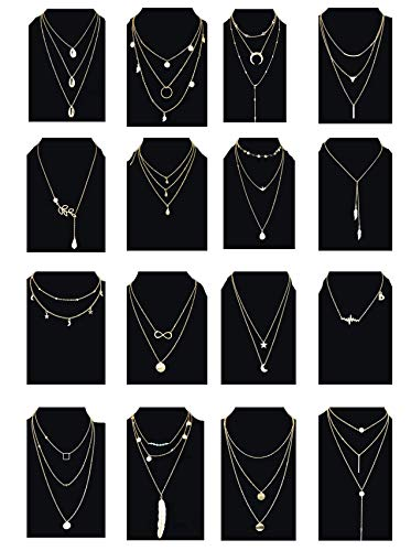 Ofeiyaa 6/12/16pcs Chain Gold Bead Necklace Coin