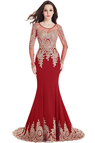 MisShow Rhinestone Applique Long Sleeve Mermaid Evening Dress for Women Formal Red US6 (Beaded Evening Wear)