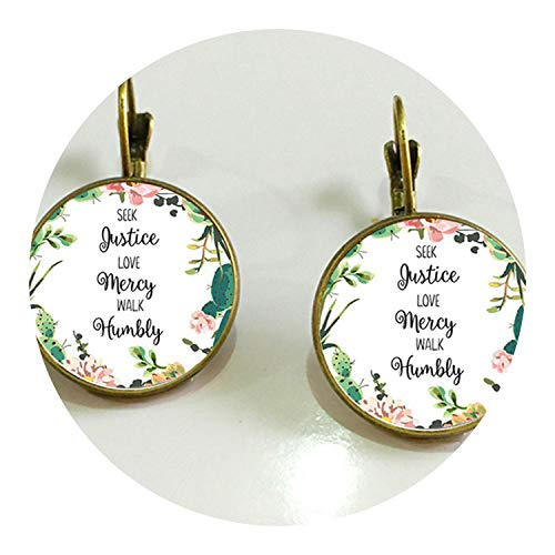 1 Pair of Bible Convex Glass Floral Earrings 18MM Glass Dome Art Photo Earrings Ladies Jewelry Gift,2