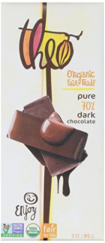 Theo Chocolate Organic Dark Chocolate, 70 % Cacao, 3 Ounce
