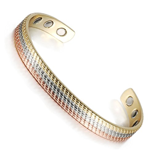 (CPB-0897G) Wollet Jewelry Magnetic Gold & Rose Gold & Silver Triple Cuff Copper Bracelet for Arthritis for or your old lady old father old mother old man