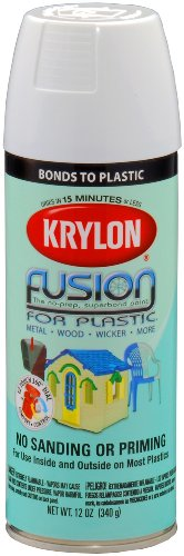 Krylon K02320007 Fusion For Plastic Aerosol Spray Paint, 12-Ounce, Gloss White - K02320001