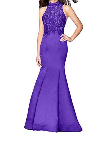 Damen Spitze Charmant Langes Navy Abendkleider Trumpet Abschlussballkleider Ballkleider Meerjungfrau Blau Violett OAwwUax