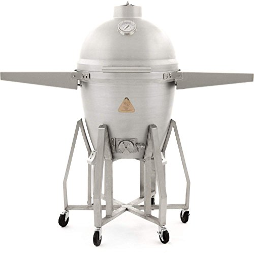 Blaze Freestanding Cast Aluminum Kamado Grill with Shelves (BLZ-20-KAMADO-BLZ-20KMDO2-CART-BLZ-KMDO-SDSH) For Sale
