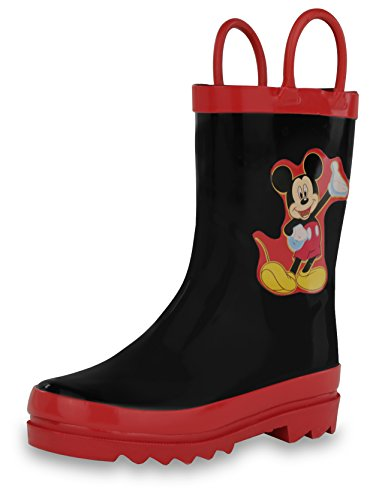 Mickey Black Socks - Disney Mickey Mouse Black Rain Boots (Toddler/Little Kid) (6 M US Toddler)