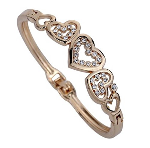 Inlaid Gold Plated Clasp (Willsa Fashion Women Jewelry Cute Rose Gold Five Hollow Heart Carve Crystal Charming Bangle Bracelet)