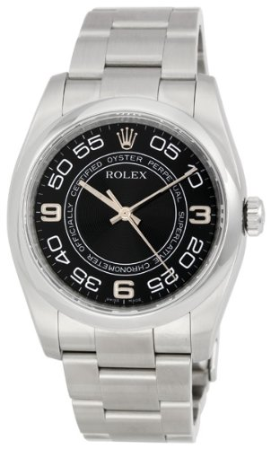 Rolex No Date Black Concentric Arabic Dial Domed Bezel Mens Watch 116000BKCAO
