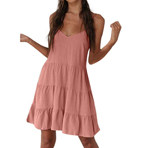 Sanyyanlsy Women's Summer Cute Cupcake Layer Backless Spaghetti Strap Deep V-Neck Solid Color Above Short Dress Dating -