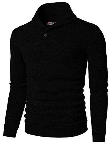H2H Mens Knited Slim Fit Pullover Sweater Shawl Collar with One Button Point Black US 2XL/Asia 3XL (KMOSWL036)