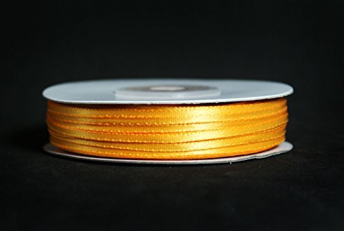 Made in Taiwan Double Face Satin Ribbon Polyester 100yrds Spool 1//8 Light Gold by CalCastle