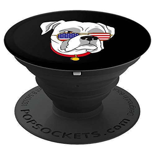 White Boxer Dog Patriotic 4th of July Women Men Kids Gift - PopSockets Grip and Stand for Phones and Tablets