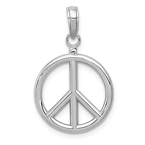 14k White Gold 3 D Peace Symbol Pendant Charm Necklace Man Fine Jewelry Gift For Dad Mens - Valentines Day Gifts For Him ()