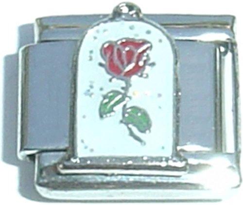 Red Rose Italian Charm Bracelet - Red Rose Italian Charm