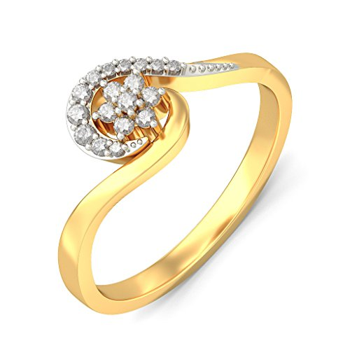 Certified 18K Yellow Gold (HallMarked), 0.13 cttw White Diamond (IJ | SI ) Diamond Engagement Wedding Ring Size - 9 by PEACOCK JEWELS