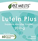 EZ Melts Lutein Plus 20 mg Dissolvable Vitamins Vegan Zero Sugar Natural Berry Flavor 60 Fast Melting Tablets Lutein and Zeaxanthin Supplement Discount