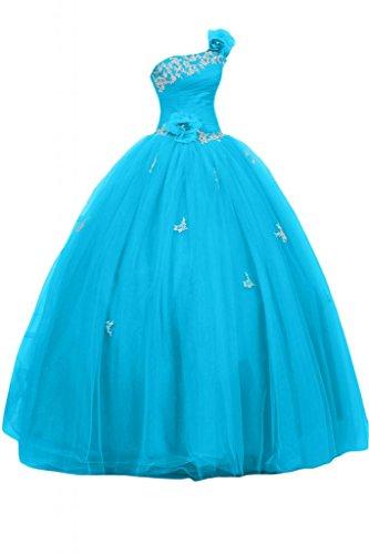 abiti Quinceanera spalla porta sera Royal Sunvary da Blue raso Prom Sky abiti Una per Tulle Gowns xIx8qnTR