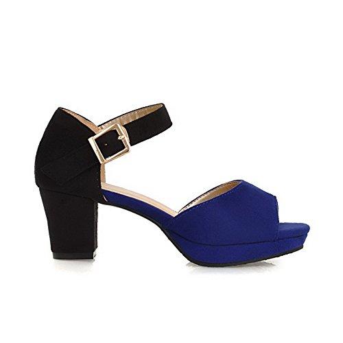 Sandalias ante imitación punta abierta con AgooLar y de para de abierta sólidas ante hebilla de mujeres azul Tacones vHOxRwgR