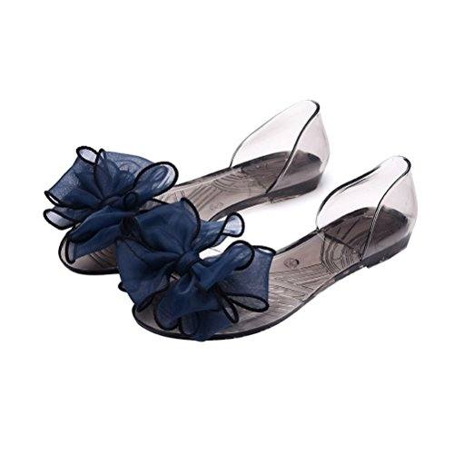 cd49da39b9078 OMGard Women Summer Jelly Ribbon Bow Flip Flops Thong Flat Sandals Shoes  chic