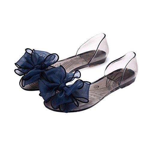 Blue Fish Thong Sandal (OMGard Women Summer Jelly Sandals Beach Woman Flip Flops Thong Slip On Flats Shoes Color Blue Size 6.5)