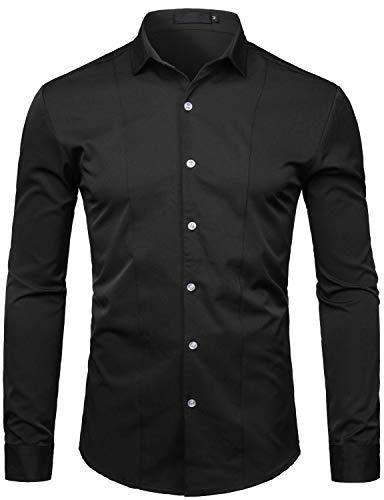 - WHATLEES Men's Hipster Solid Slim Fit Long Sleeve Tuxedo Dress Shirts T27 Black Medium